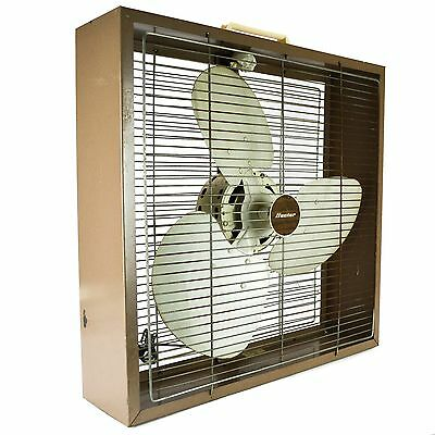 Hunter Box Floor Fan 3 Speed Metal Blades Old Vintage FZ20 Large Brown  Square