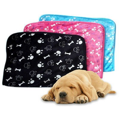 Pets Blanket Soft Coral Fleece Paw Print Mats Dogs Mats Home Warm Bed Cover Pad