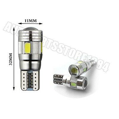 100x T10 5630 6SMD Canbus Error Free W5W 168 LED Bulbs Side Parking Light White