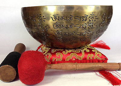 "10"" Hand Cutting Tibetan Mantra Crafted Buddha and Dorje Himalayan Singing Bowl"