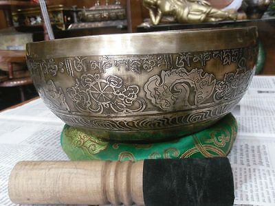 "9.5"" Mantra Carved Buddha Tibetan Singing Bowl, Beaten Hammered Singing Bowls"
