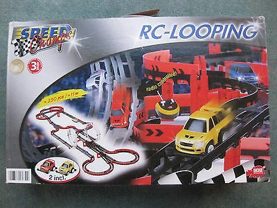 Boxed RC Looping mini racing cars with track & loops, instructions, Complete