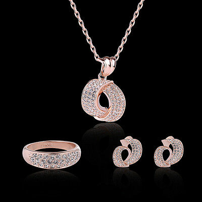 Necklace Jewelry Set Round Shape Rose Gold Zircon Pendant Stud Earrings Ring 3PC
