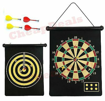 Magnetic Dartboard Roll Up With 4 Magnet Darts Game Dart Board Double Sided