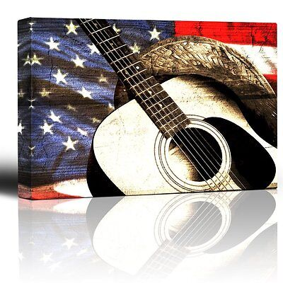 Wall26 - Cowboy hat and guitar on patriotic flag background - Canvas Art - 16x24