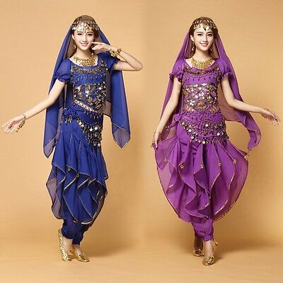 AU Bollywood Belly Dance Costume set Top+Pants+Belt +Veil party dress up Costume