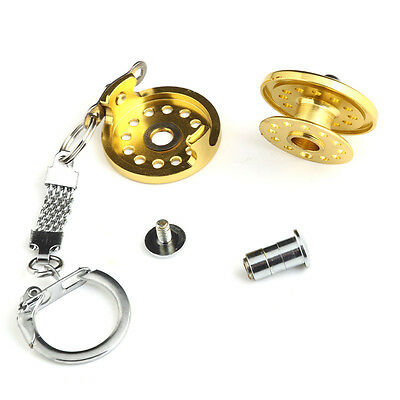 Fly Fishing Reel Charactor Miniature Key Ring -- Novelty Key Chain --- Gold