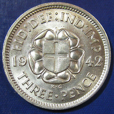 1942 3d George VI Rare silver Threepence - Brilliant Uncirculated
