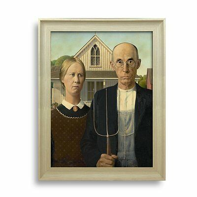 "American Gothic by Grant Wood - Framed Art Print -Painting Wall Decor - 24""x18"""