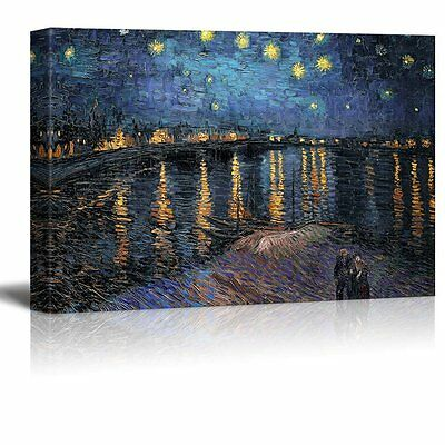 "Starry Night Over The Rhone by Vincent Van Gogh - Canvas Wall Art- 24"" x 36"""