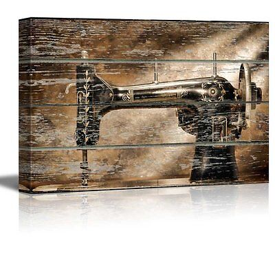 """Canvas Wall Art - Sewing Machine on Vintage Wood Textured Background - 24"""" x 36"""""""