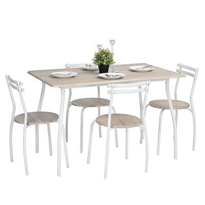 Contemporary Dining Set with Table and 4 Chairs Beech Moca Kitchen Furniture