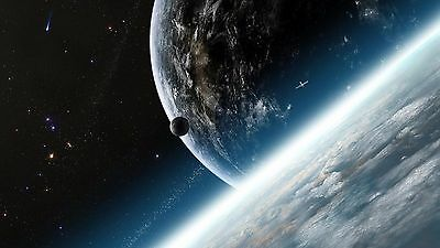 space galaxy earth  A4,A3 Gloss Laminated waterproof image art photo poster