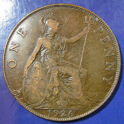 1926 ME 1d George V Modified Head bronze Penny - Very Scarce this close to VF