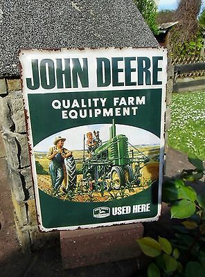 * JOHN DEERE Quality Farm Equipment Used * - Large official metal Wall Sign