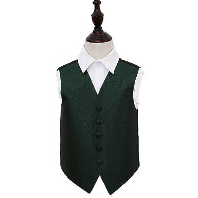 DQT Woven Greek Key Patterned Dark Green Boys Wedding Waistcoat 2-14 Years