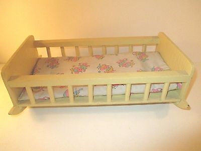 Vintage Doll Cradle Yellow Wood with Vintage Mouse Mattress