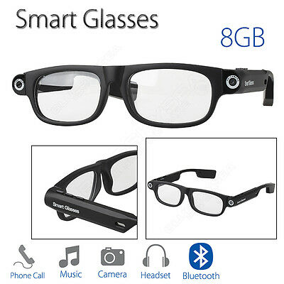 Smart Glasses Bluetooth 4.0 8GB W/ Headphone Music Handfree For Cycling Driving