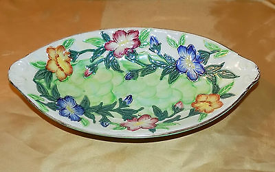 Vintage Art Deco MALING Newcastle-upon-Tyne Handpainted Floral Fish Scale Bowl