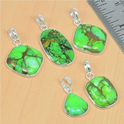 Wholesale 5Pc 925 Solid Sterling Silver Natural Green Turquoise Pendant Lot