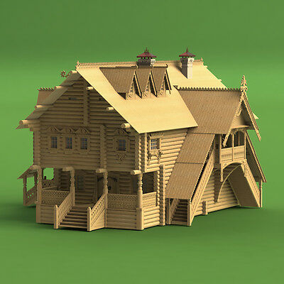 Russian Terem, Log house, 1:72 Scale, Construction kit, Wood model