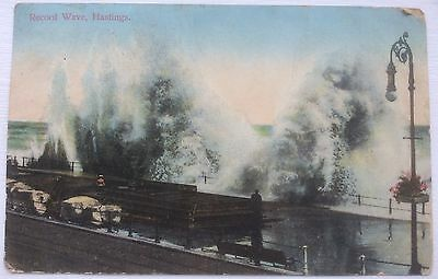 HASTINGS, RECORD WAVE, DATED 1913, Scarce Used Postcard