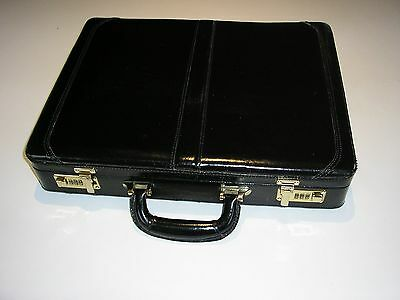 Vintage Black Leather Brief Case with pale Blue Leather pocketed interior