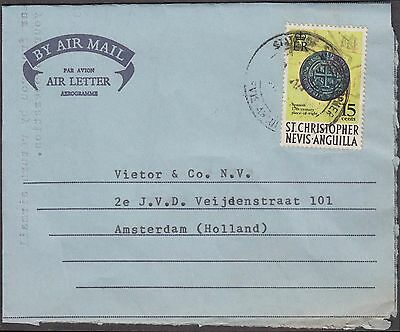 St. Christopher Nevis Anguilla 1974 Aerogramme With Spanish Piece To Holland