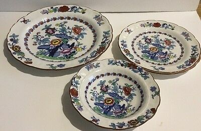 Antique Booths Pottery Pompadour Patterned Plates, 7', 9.5' And 6'.