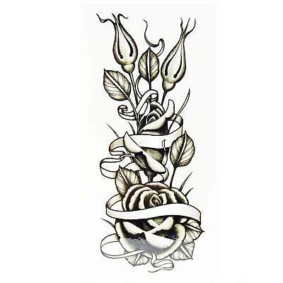 Ribbon Rose Temporary Tattoo By Tim Hendricks Rockabilly Classic Black Line