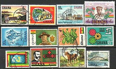 Ghana - 12 Used Stamps
