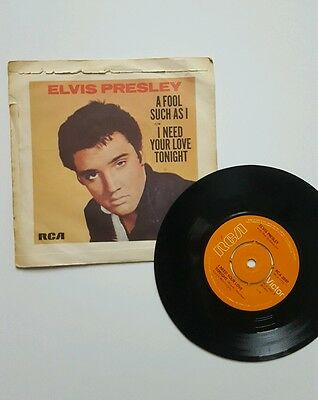 "Elvis Presley - A Fool As Such As I / I Need Your Love Tonight 7"" Vinyl Single"