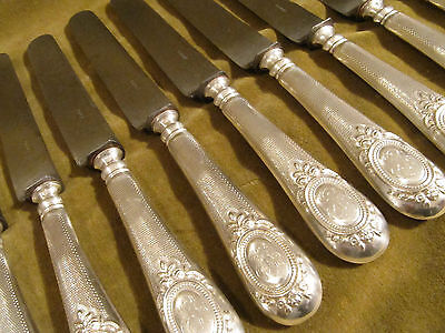 19th c french sterling guilloche silver (handles) 11 dinner knives Louis XVI st