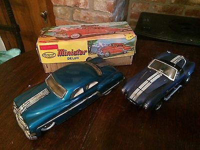 Vintage 1960's BOXED blue tin Minster FRICTION toy CAR + another car 1:18 scale