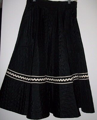 """Vintage 1950s Quilted Black Full Circle Skirt Rockabilly Swing Pinup Skirt~200"""""""