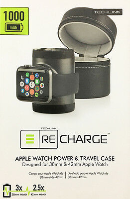 New! Techlink - Recharge Portable Charger for Apple Watch 38mm & 42mm - Black