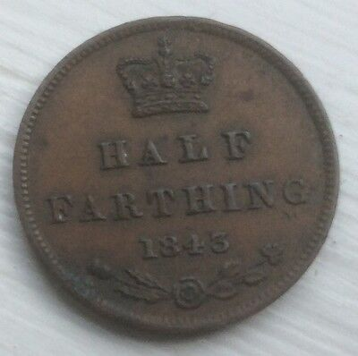 VERY NICE VICTORIAN HALF FARTHING, 1843, Lovely Young Head Coin