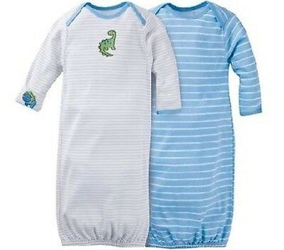 GERBER BABY BOY Lap Shoulder Gowns 2-Pack - Dinosaur Baby Shower Gift - Blue NWT