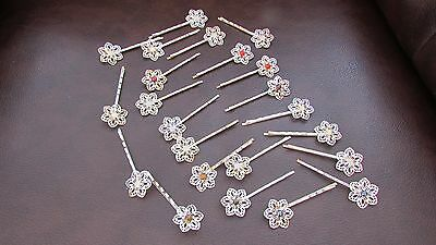 23 silver plated gemstone hairclips