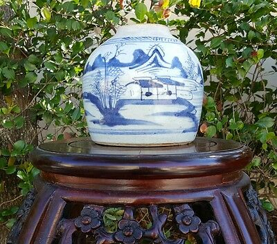 Beautiful 19th Century Antique Blue and White Chinese Ginger Jar