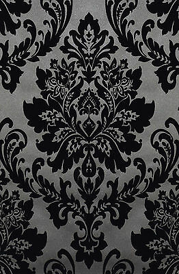 exclusive casablanca velvet flock blacksilver grey damask