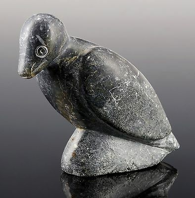 Inuit Skulptur Vogel schwarzer Stein Pyrit Native Art Grönland Sculpture