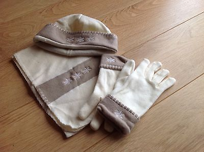 BNWOT Womens Fleece Hat, Scarf and Gloves Set