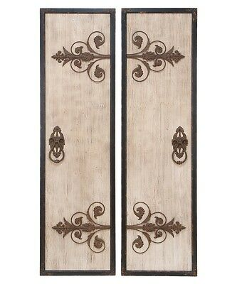 Decorative Rustic Old World French Country Set/2 Wood Metal Door Wall  Panels