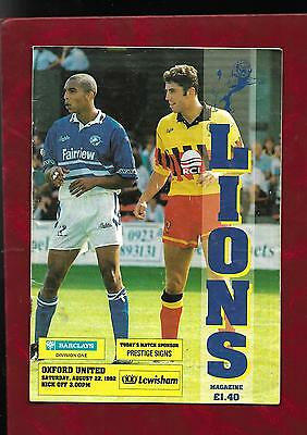 1992/3 Millwall v Oxford United football programme