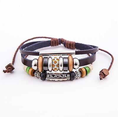 Women's Fashion Mutilayer Real Leather Adjustable Wristband Bracelet Amber Inlay