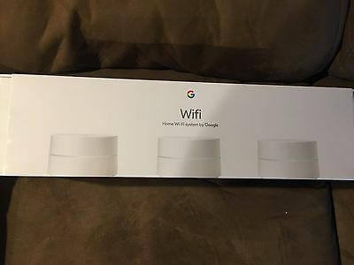 3 Pack Google WiFi AC1200 Dual-Band Whole Home Wi-Fi System - NLS-1304-25 NEW!