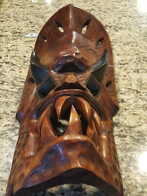 Hand carved wooden tribal mask Filipino dragon Rare Artwork Ifugao Wood Antique!