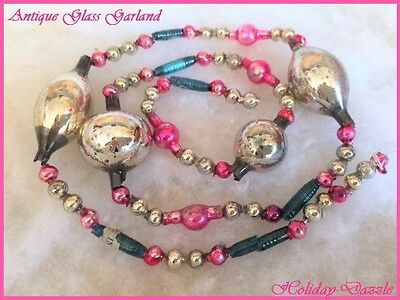 Antique Vtg Glass Xmas Tree Garland Large Silver Oblong Beads & Pink & Tubular