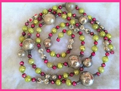 Antique Vtg Glass Xmas Feather Tree Garland Large Beads Silver ~ Pink ~ Green